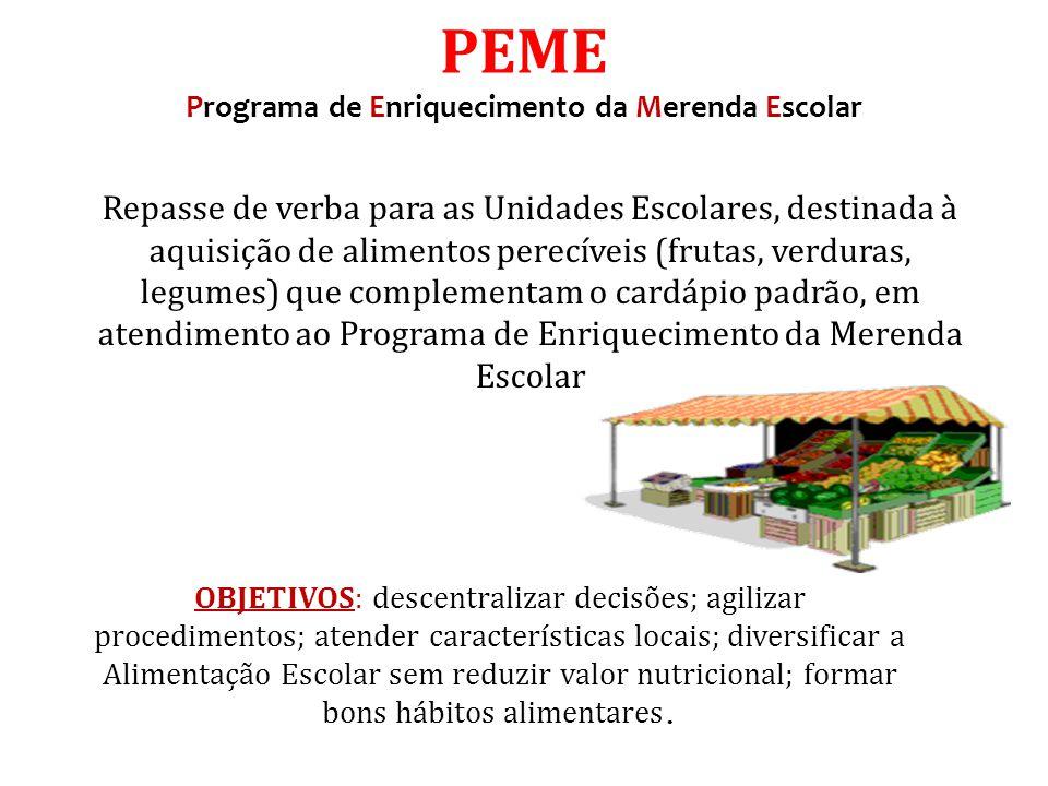 Repasse de verba para as Unidades Escolares, destinada à aquisição de alimentos perecíveis (frutas, verduras, legumes) que complementam o cardápio pad