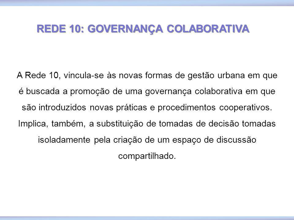 REDE 10: GOVERNANÇA COLABORATIVA A Rede 10, vincula-se às novas formas de gestão urbana em que é buscada a promoção de uma governança colaborativa em