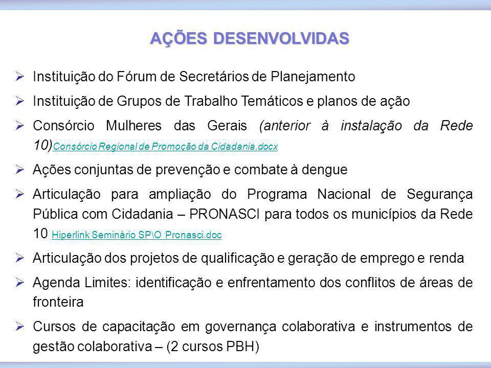 Instituição do Fórum de Secretários de Planejamento Instituição de Grupos de Trabalho Temáticos e planos de ação Consórcio Mulheres das Gerais (anteri