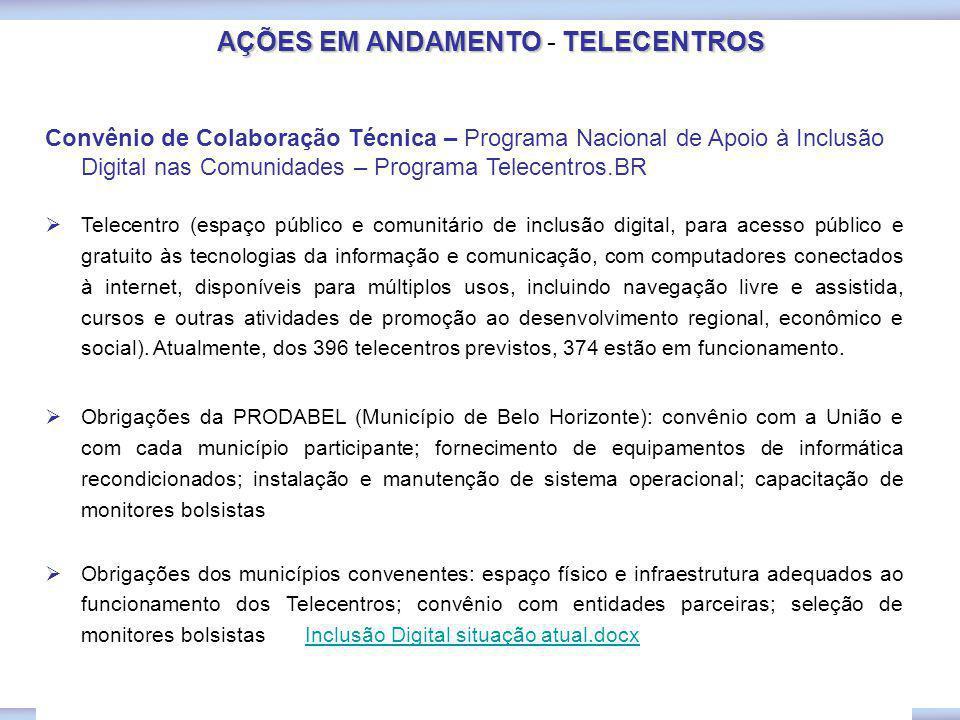 AÇÕES EM ANDAMENTOTELECENTROS AÇÕES EM ANDAMENTO - TELECENTROS Convênio de Colaboração Técnica – Programa Nacional de Apoio à Inclusão Digital nas Com