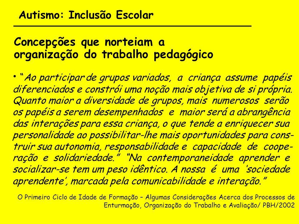 Autismo: Inclusão Escolar ___________________________________ Concepções que norteiam a organização do trabalho pedagógico Ao participar de grupos var
