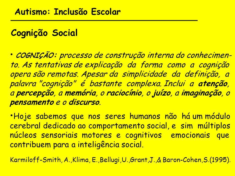 Autismo: Inclusão Escolar ___________________________________ Cognição Social COGNIÇÃO : processo de construção interna do conhecimen- to. As tentativ