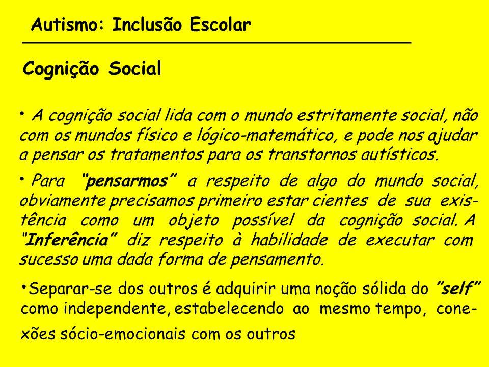 Autismo: Inclusão Escolar ___________________________________ Cognição Social A cognição social lida com o mundo estritamente social, não com os mundo