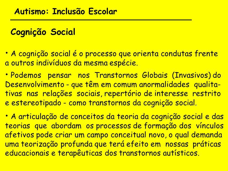 Autismo: Inclusão Escolar ___________________________________ Cognição Social A cognição social é o processo que orienta condutas frente a outros indi