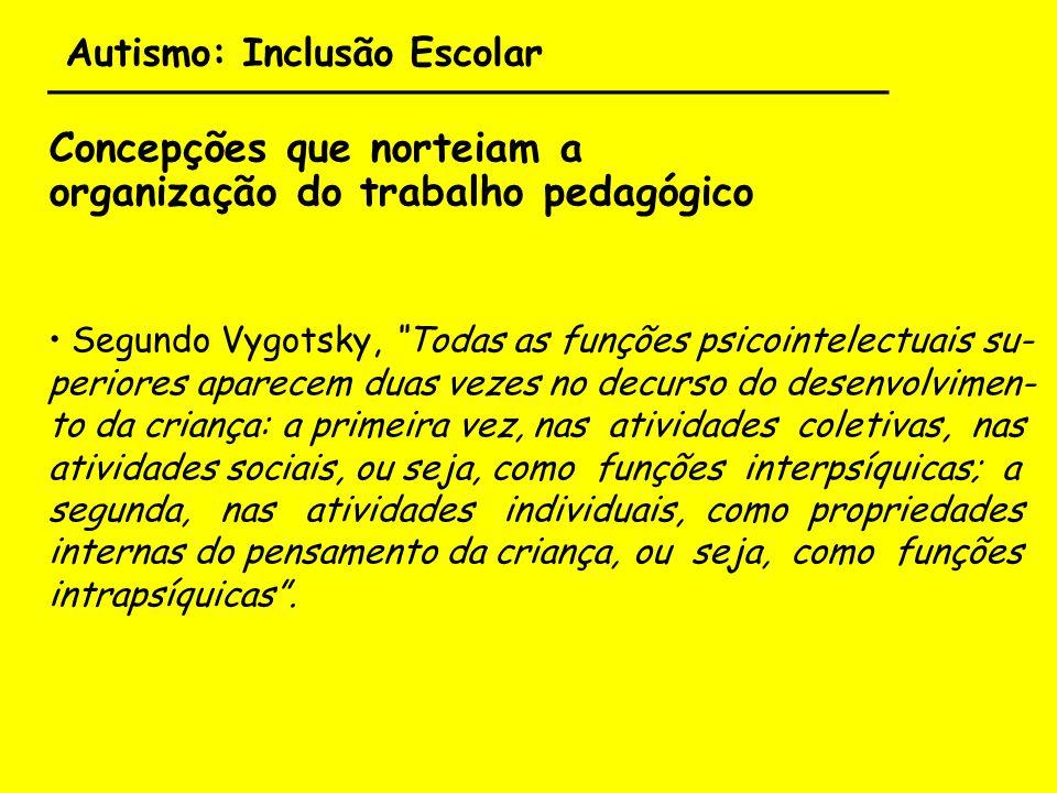 Autismo: Inclusão Escolar ___________________________________ Concepções que norteiam a organização do trabalho pedagógico Segundo Vygotsky, Todas as