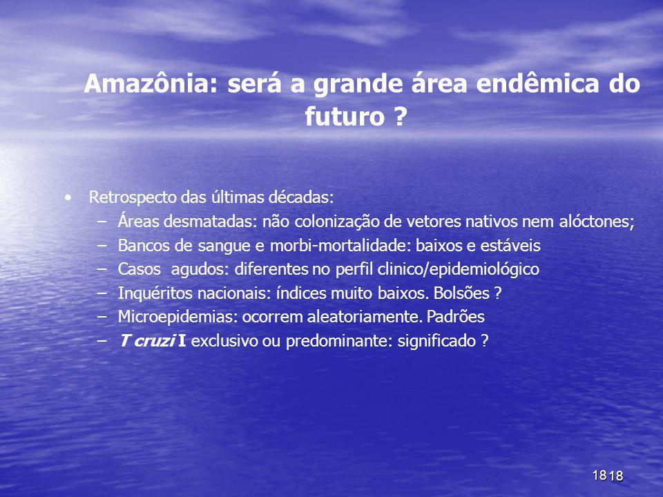 18 18 Amazônia: será a grande área endêmica do futuro ? Retrospecto das últimas décadas: –Áreas desmatadas: não colonização de vetores nativos nem aló