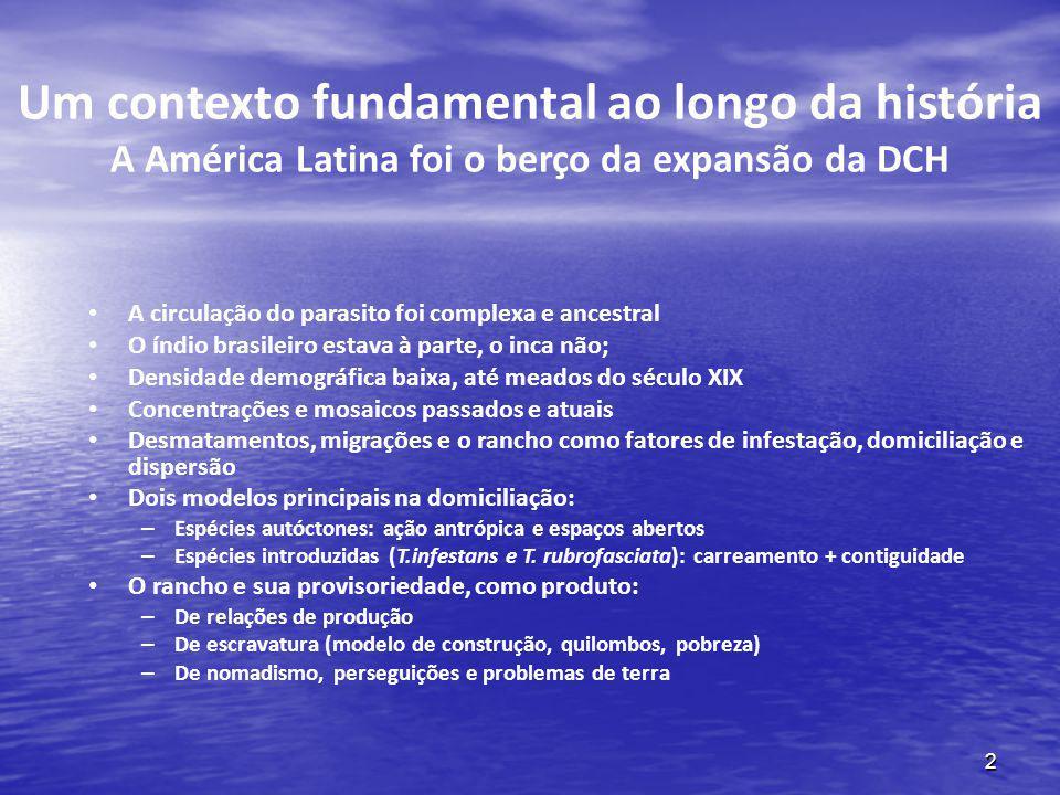 2 Um contexto fundamental ao longo da história A América Latina foi o berço da expansão da DCH A circulação do parasito foi complexa e ancestral O índ