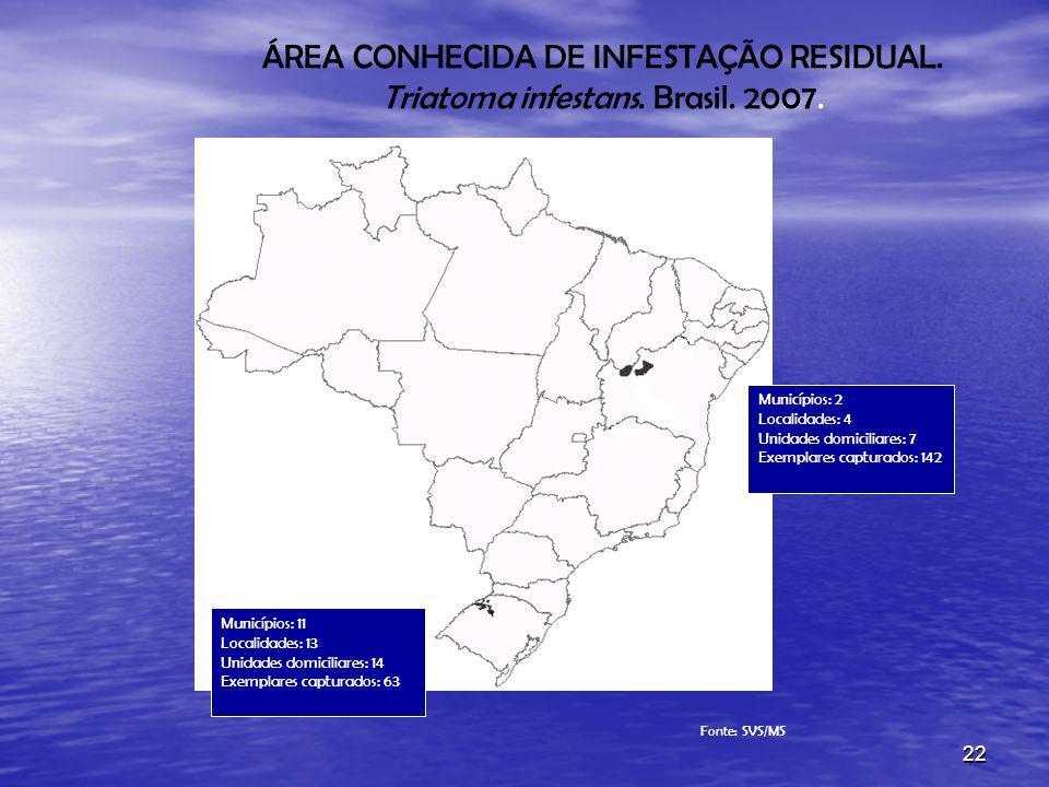 22 ÁREA CONHECIDA DE INFESTAÇÃO RESIDUAL. Triatoma infestans. Brasil. 2007. Fonte: SVS/MS Municípios: 11 Localidades: 13 Unidades domiciliares: 14 Exe