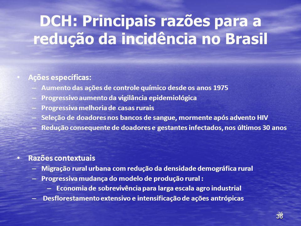 36 DCH: Principais razões para a redução da incidência no Brasil Ações específicas: – Aumento das ações de controle químico desde os anos 1975 – Progr