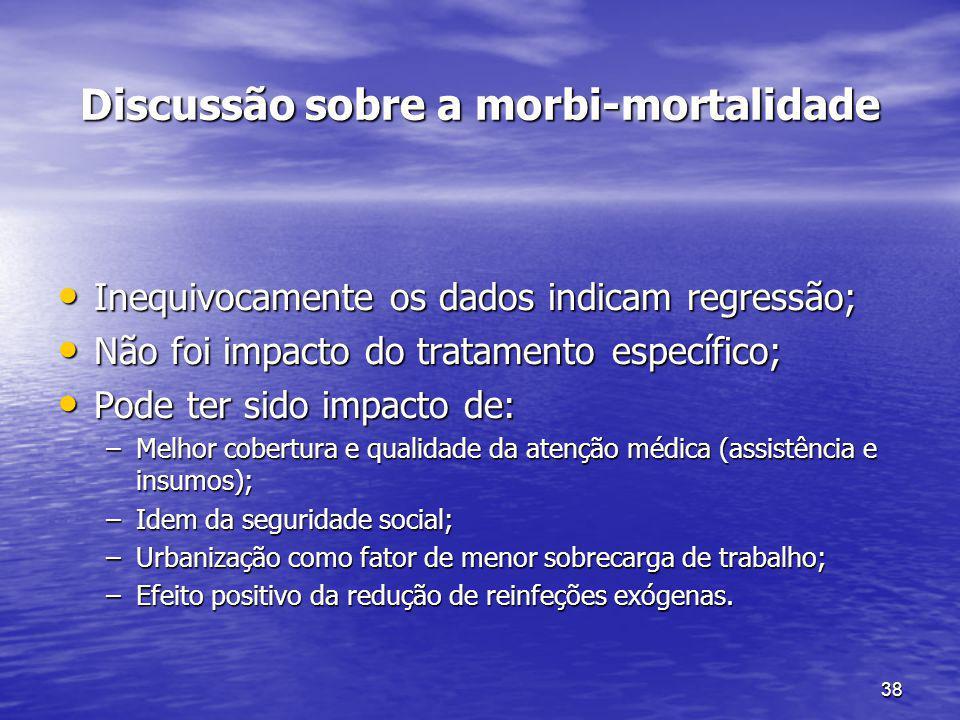 38 Discussão sobre a morbi-mortalidade Inequivocamente os dados indicam regressão; Inequivocamente os dados indicam regressão; Não foi impacto do trat