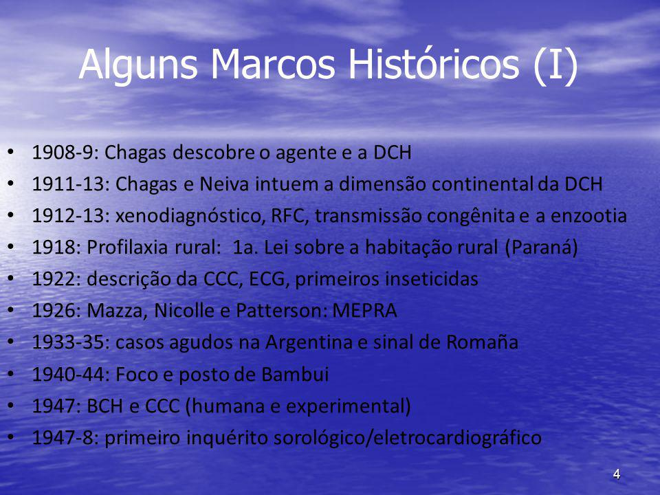4 Alguns Marcos Históricos (I) 1908-9: Chagas descobre o agente e a DCH 1911-13: Chagas e Neiva intuem a dimensão continental da DCH 1912-13: xenodiagnóstico, RFC, transmissão congênita e a enzootia 1918: Profilaxia rural: 1a.