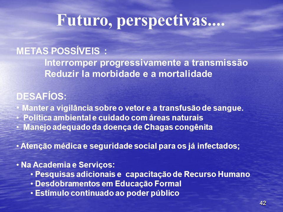 42 Futuro, perspectivas.... METAS POSSÍVEIS : Interromper progressivamente a transmissão Reduzir la morbidade e a mortalidade DESAFÍOS: Manter a vigil