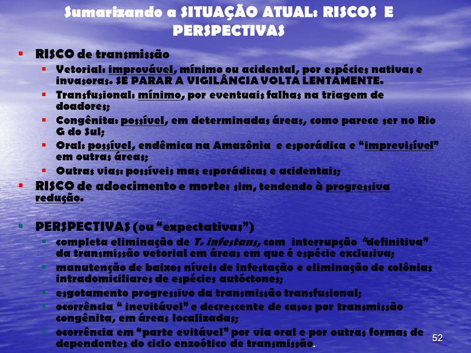52 Sumarizando a SITUAÇÃO ATUAL: RISCOS E PERSPECTIVAS RISCO de transmissão Vetorial: improvável, mínimo ou acidental, por espécies nativas e invasora