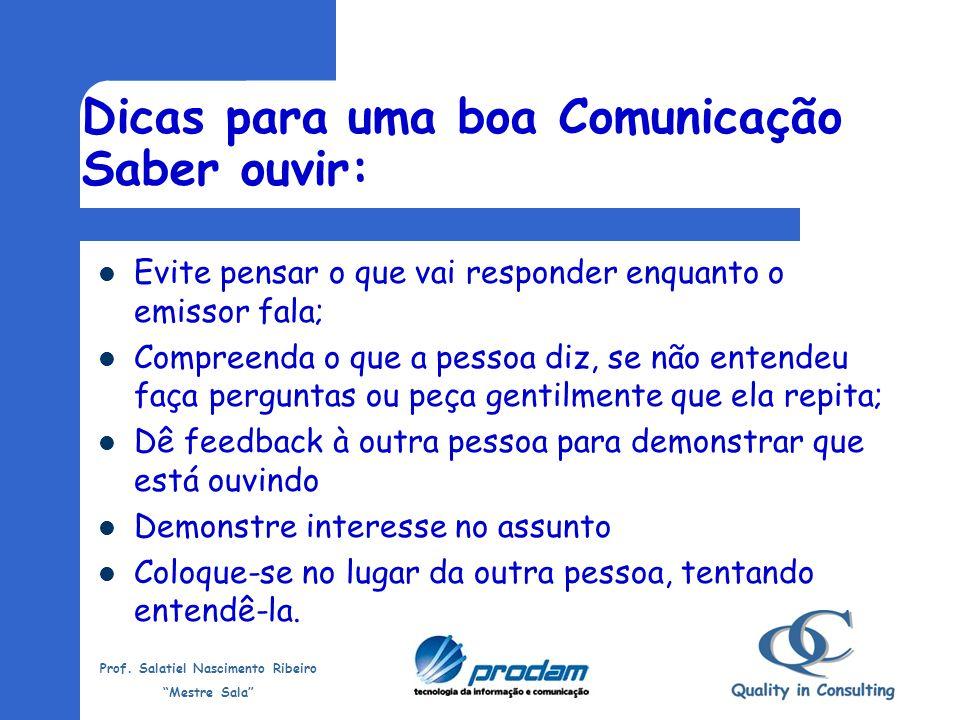 Prof. Salatiel Nascimento Ribeiro Mestre Sala Verbal: palavras (escrita ou falada) Não-verbal: gestos, movimentos, imagens, etc Mista: cinema, tv, rev
