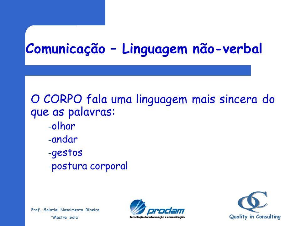 Prof. Salatiel Nascimento Ribeiro Mestre Sala Dicas para uma boa Comunicação Saber ouvir: Evite pensar o que vai responder enquanto o emissor fala; Co