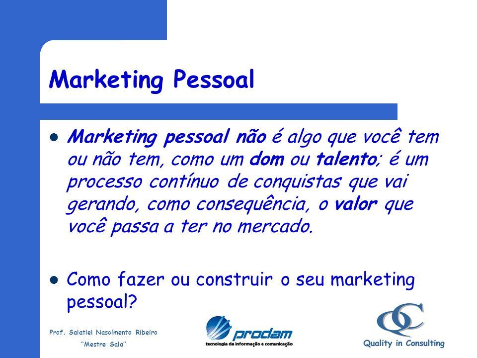 Prof. Salatiel Nascimento Ribeiro Mestre Sala Marketing Pessoal Alguém aqui nasceu com marketing pessoal?