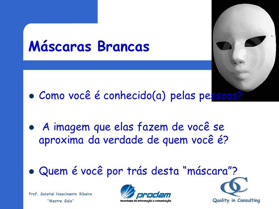 Prof. Salatiel Nascimento Ribeiro Mestre Sala Máscaras Brancas Usando máscaras podemos enganar algumas pessoas. Podemos até conquistar posições import