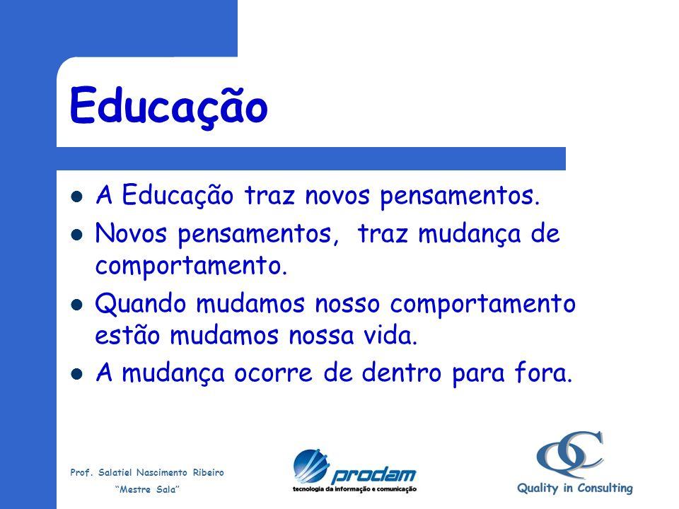 Prof. Salatiel Nascimento Ribeiro Mestre Sala Conhecimento Vem de conhecer, saber, aprimorar, tornar claro aquilo que ainda não se conhece. Através da