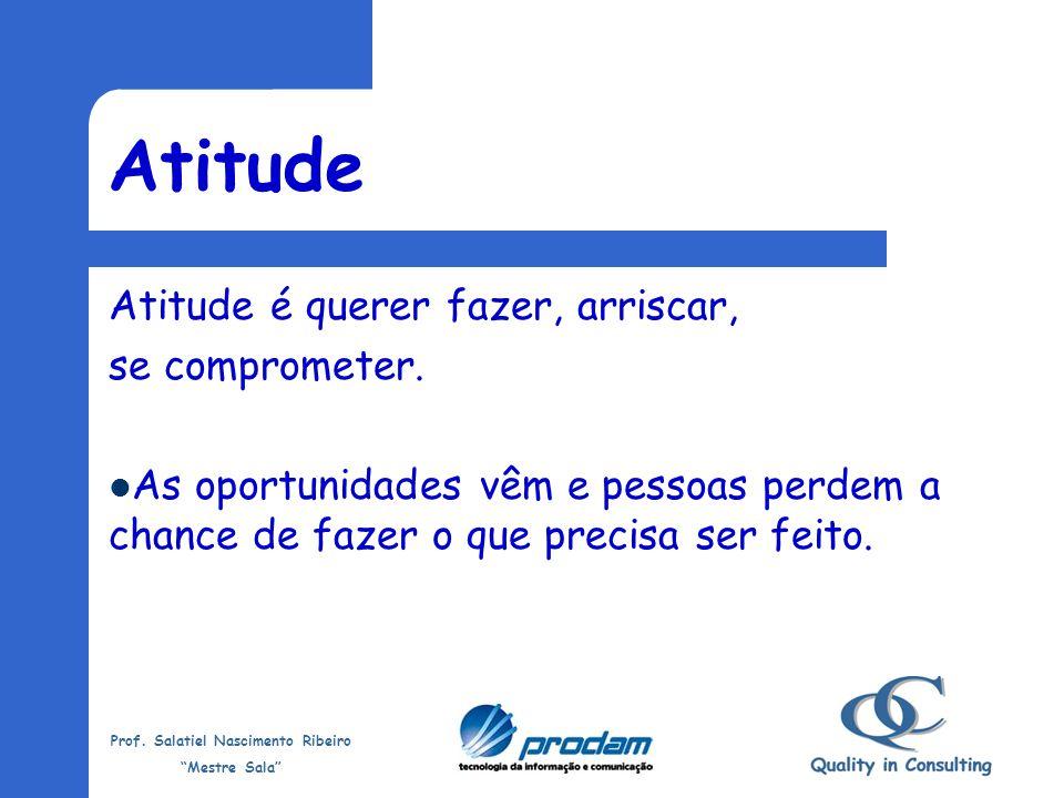 Prof. Salatiel Nascimento Ribeiro Mestre Sala Conhecimento e Habilidade Não basta ter Conhecimento e Habilidade... Se você não tiver... Atitude