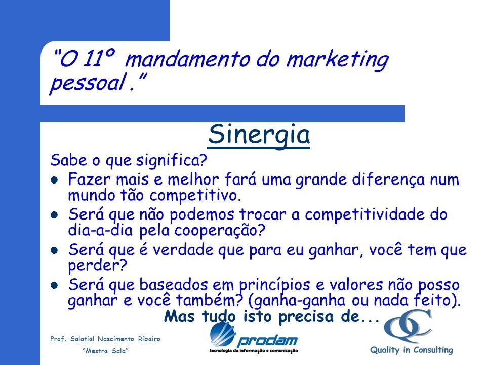 Prof. Salatiel Nascimento Ribeiro Mestre Sala Os 10 mandamentos do marketing pessoal - habilidades que deverão ser alcançadas. Liderança Confiança Vis