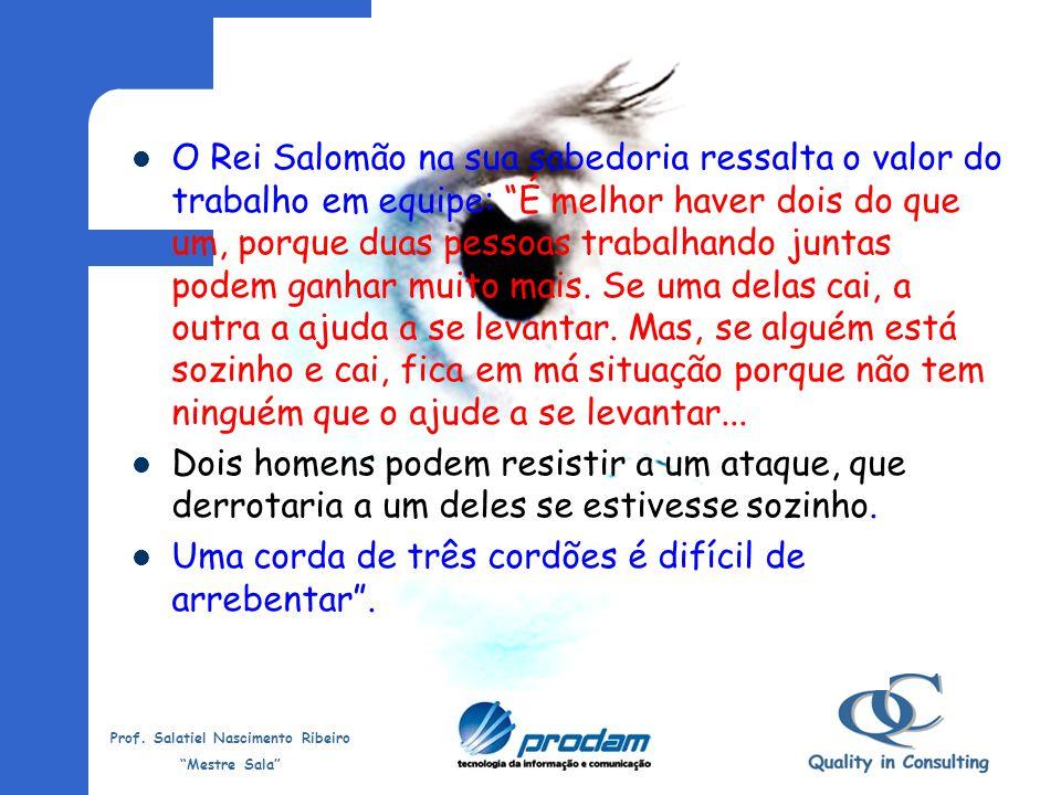Prof. Salatiel Nascimento Ribeiro Mestre Sala Amor Olhe para as pessoas que estão à sua volta com o coração. Sirva com AMOR.