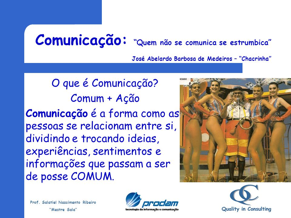 Prof. Salatiel Nascimento Ribeiro Mestre Sala Relacionamento Interpessoal É a comunicação entre pessoas para a transmissão de informações, ideias, sen