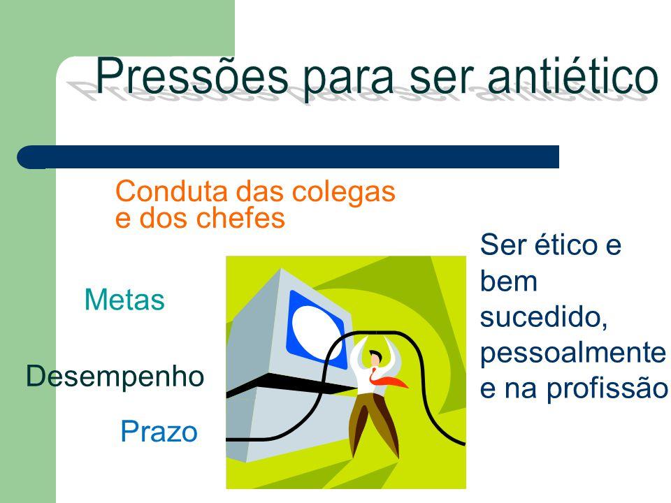 Ser ético e bem sucedido, pessoalmente e na profissão Metas Prazo Conduta das colegas e dos chefes Desempenho