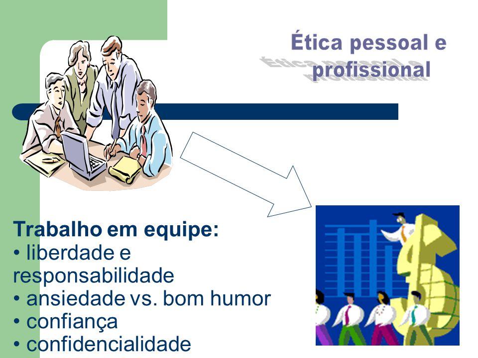 Trabalho em equipe: liberdade e responsabilidade ansiedade vs. bom humor confiança confidencialidade
