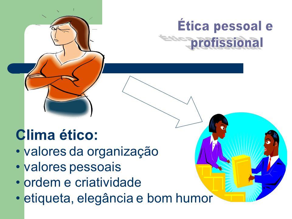 Clima ético: valores da organização valores pessoais ordem e criatividade etiqueta, elegância e bom humor