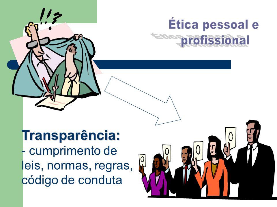 Transparência: - cumprimento de leis, normas, regras, código de conduta