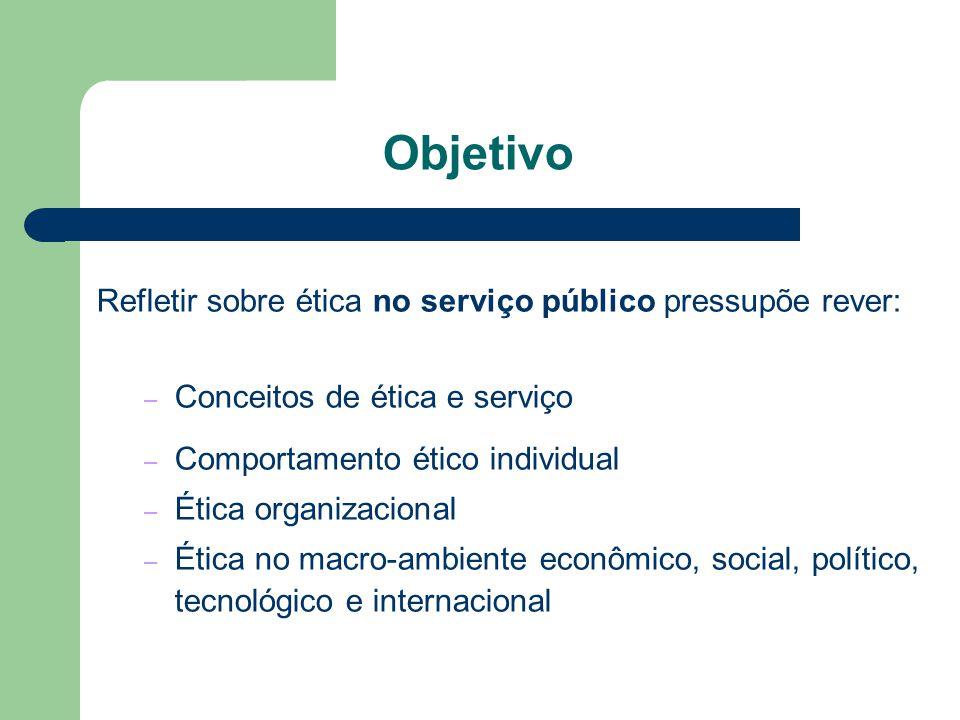 Objetivo Refletir sobre ética no serviço público pressupõe rever: – Conceitos de ética e serviço – Comportamento ético individual – Ética organizacion