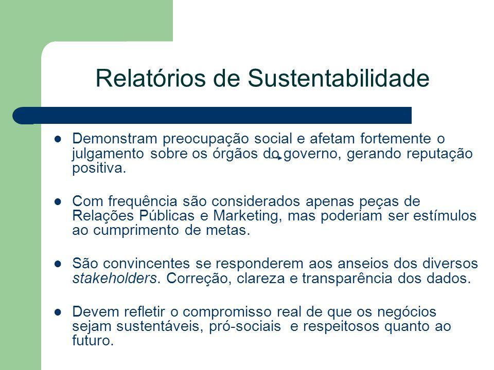 Relatórios de Sustentabilidade Demonstram preocupação social e afetam fortemente o julgamento sobre os órgãos do governo, gerando reputação positiva.