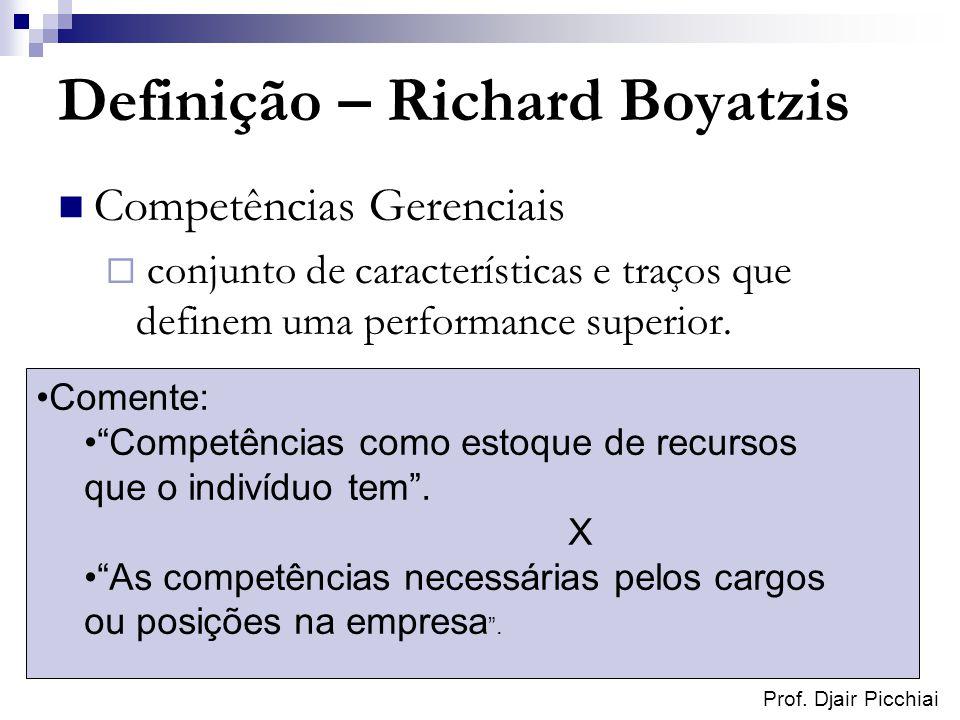 Prof. Djair Picchiai Definição – Richard Boyatzis Competências Gerenciais conjunto de características e traços que definem uma performance superior. C