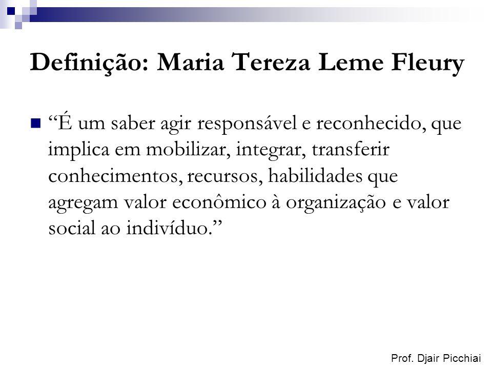 Prof. Djair Picchiai Definição: Maria Tereza Leme Fleury É um saber agir responsável e reconhecido, que implica em mobilizar, integrar, transferir con
