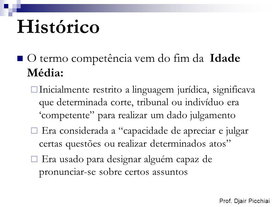 Prof. Djair Picchiai Histórico O termo competência vem do fim da Idade Média: Inicialmente restrito a linguagem jurídica, significava que determinada