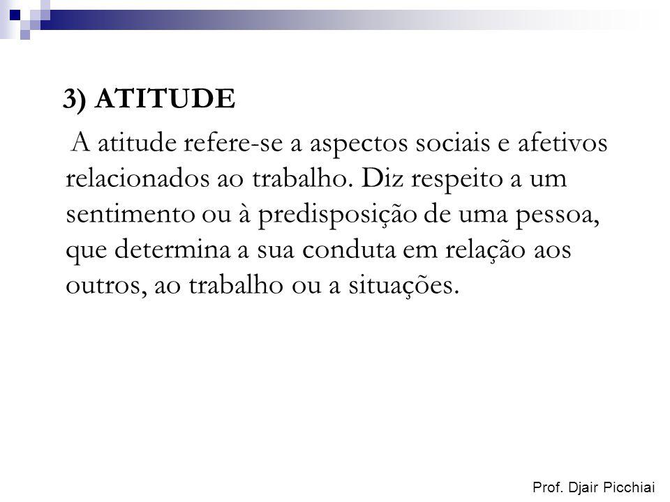 Prof. Djair Picchiai 3) ATITUDE A atitude refere-se a aspectos sociais e afetivos relacionados ao trabalho. Diz respeito a um sentimento ou à predispo