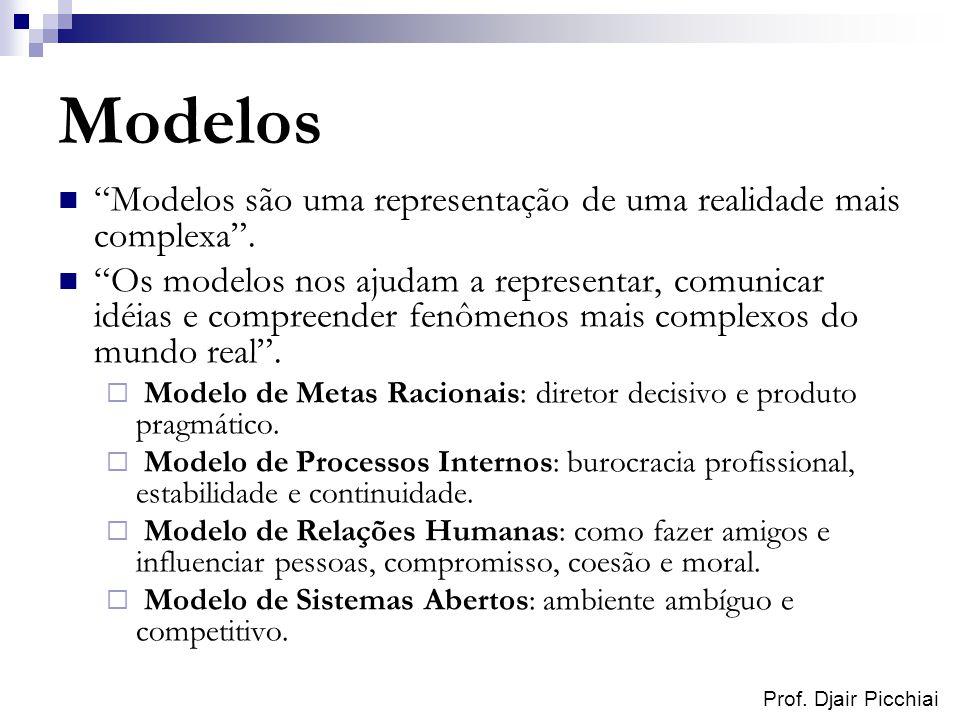 Prof. Djair Picchiai Modelos Modelos são uma representação de uma realidade mais complexa. Os modelos nos ajudam a representar, comunicar idéias e com