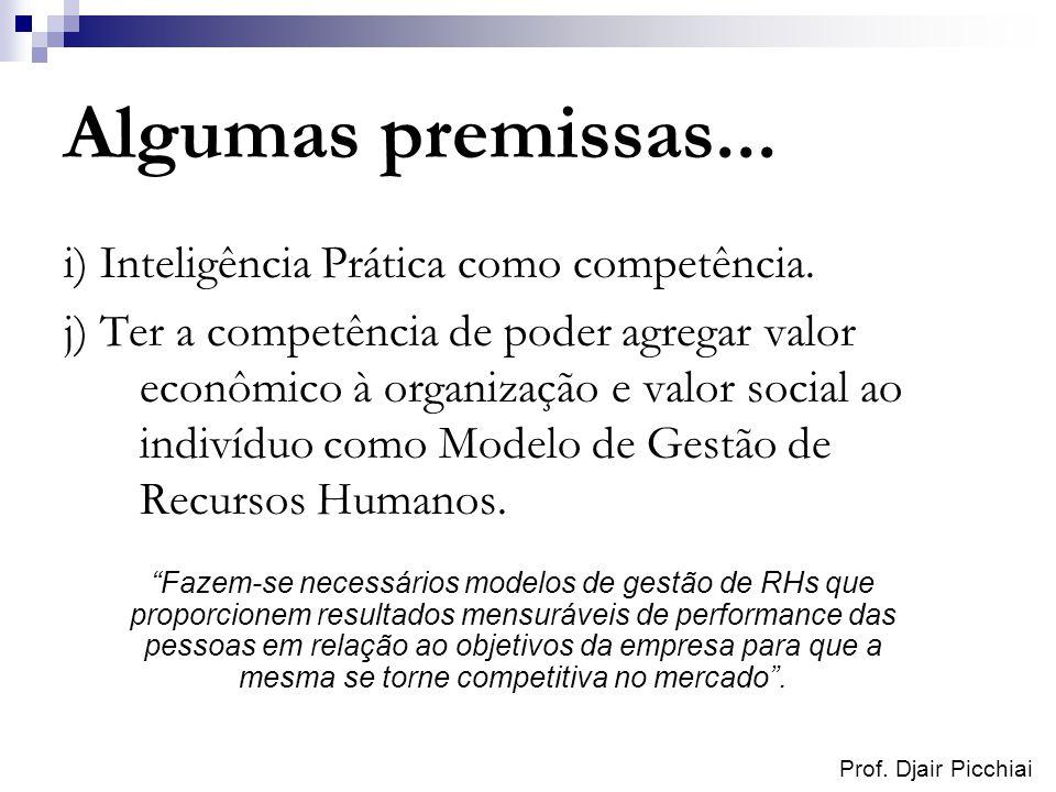 Prof. Djair Picchiai Algumas premissas... i) Inteligência Prática como competência. j) Ter a competência de poder agregar valor econômico à organizaçã