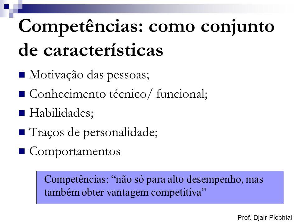 Prof. Djair Picchiai Competências: como conjunto de características Motivação das pessoas; Conhecimento técnico/ funcional; Habilidades; Traços de per