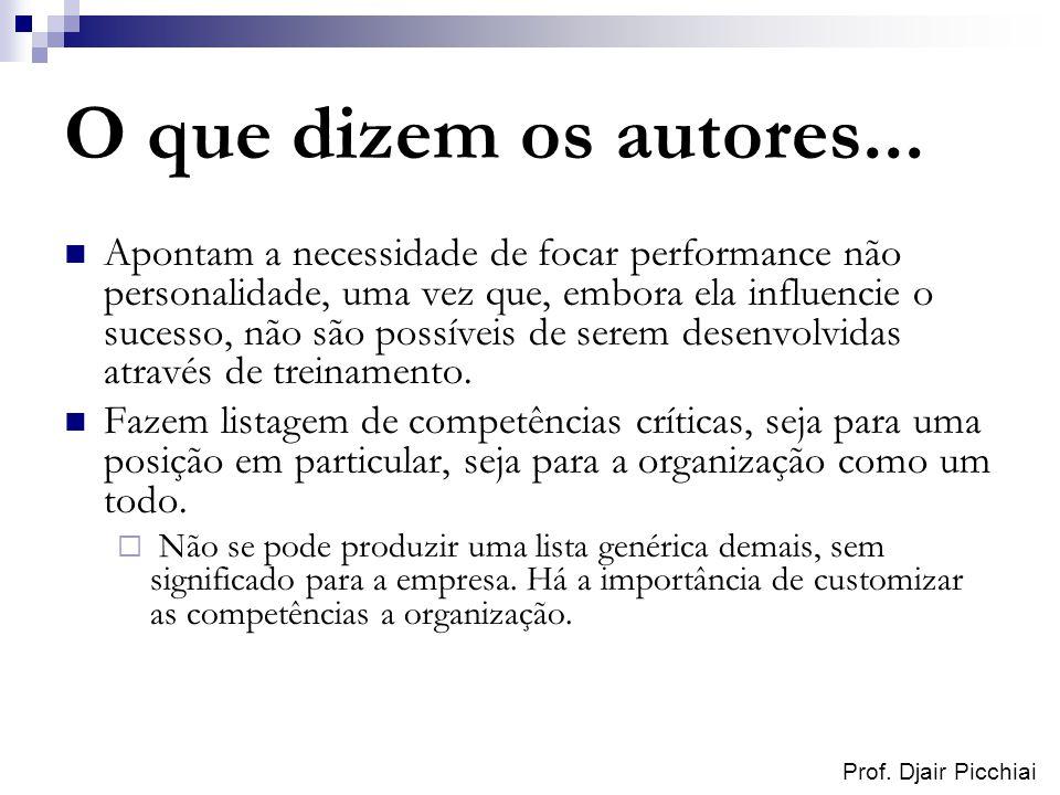 Prof. Djair Picchiai O que dizem os autores... Apontam a necessidade de focar performance não personalidade, uma vez que, embora ela influencie o suce