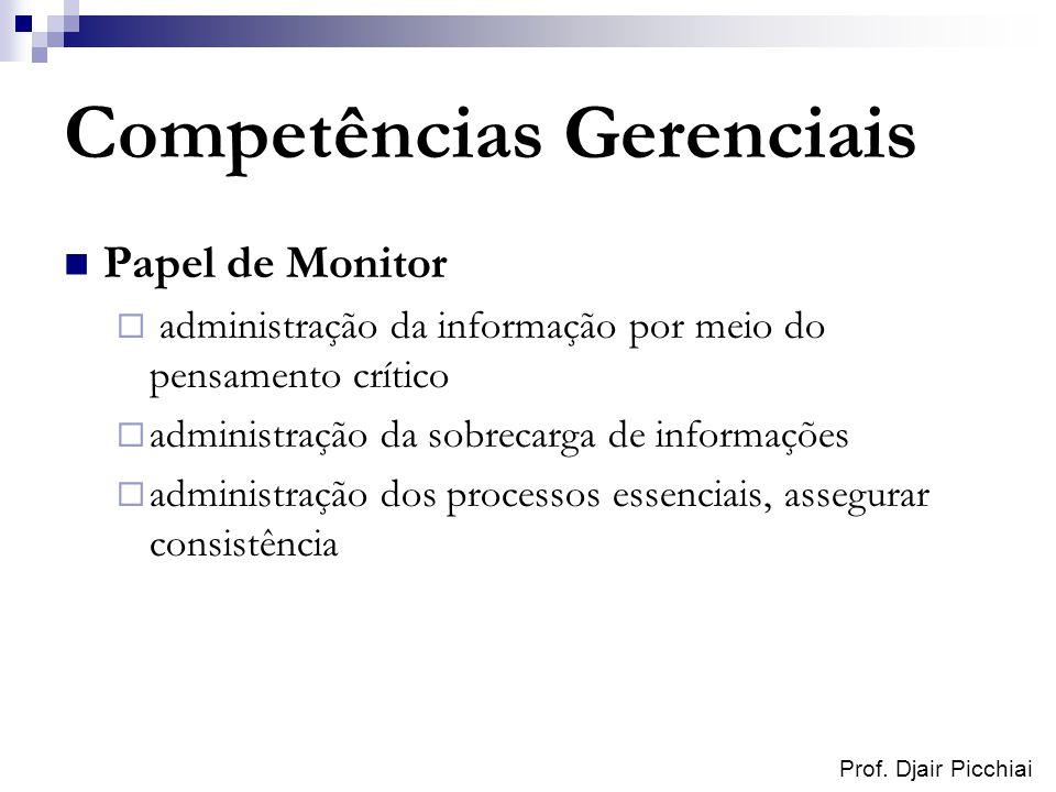 Prof. Djair Picchiai Competências Gerenciais Papel de Monitor administração da informação por meio do pensamento crítico administração da sobrecarga d