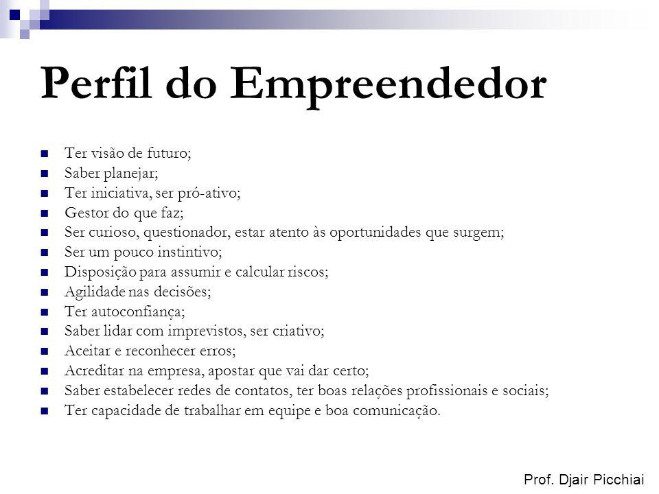 Prof. Djair Picchiai Perfil do Empreendedor Ter visão de futuro; Saber planejar; Ter iniciativa, ser pró-ativo; Gestor do que faz; Ser curioso, questi