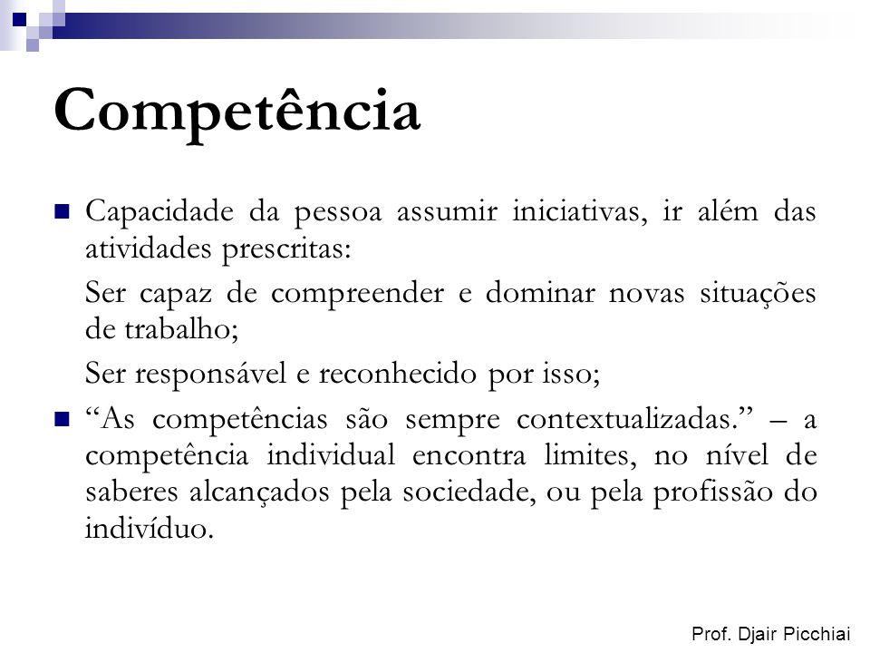 Prof. Djair Picchiai Competência Capacidade da pessoa assumir iniciativas, ir além das atividades prescritas: Ser capaz de compreender e dominar novas