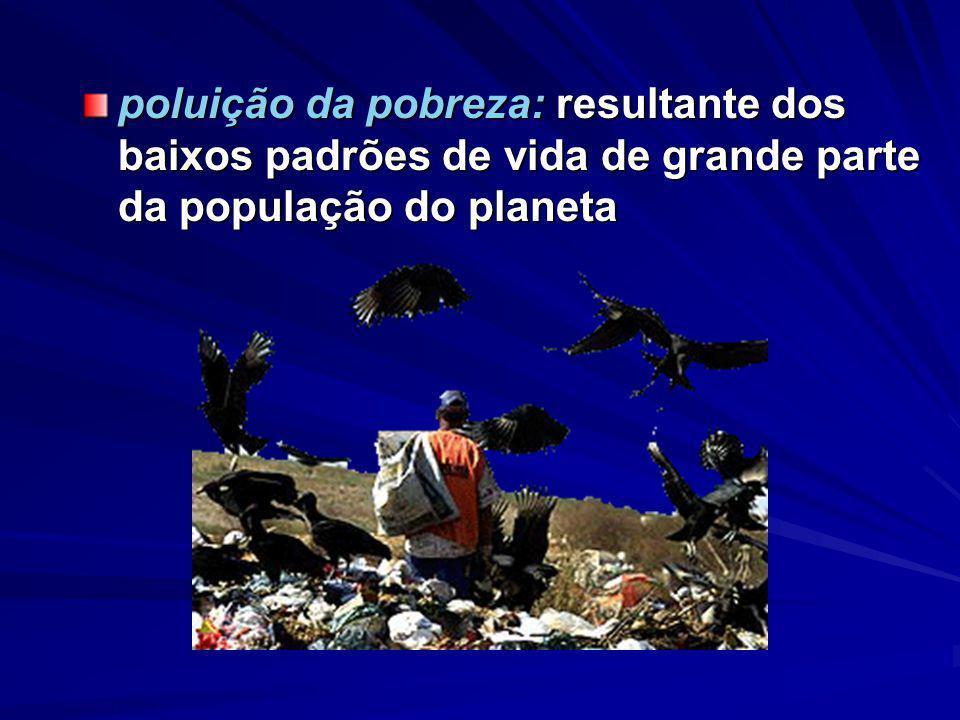 Enfrentamos diferentes tipos de poluição poluição da riqueza: alto padrão produtivo e tecnológico aliado ao consumo supérfluo e ao desperdício de uma