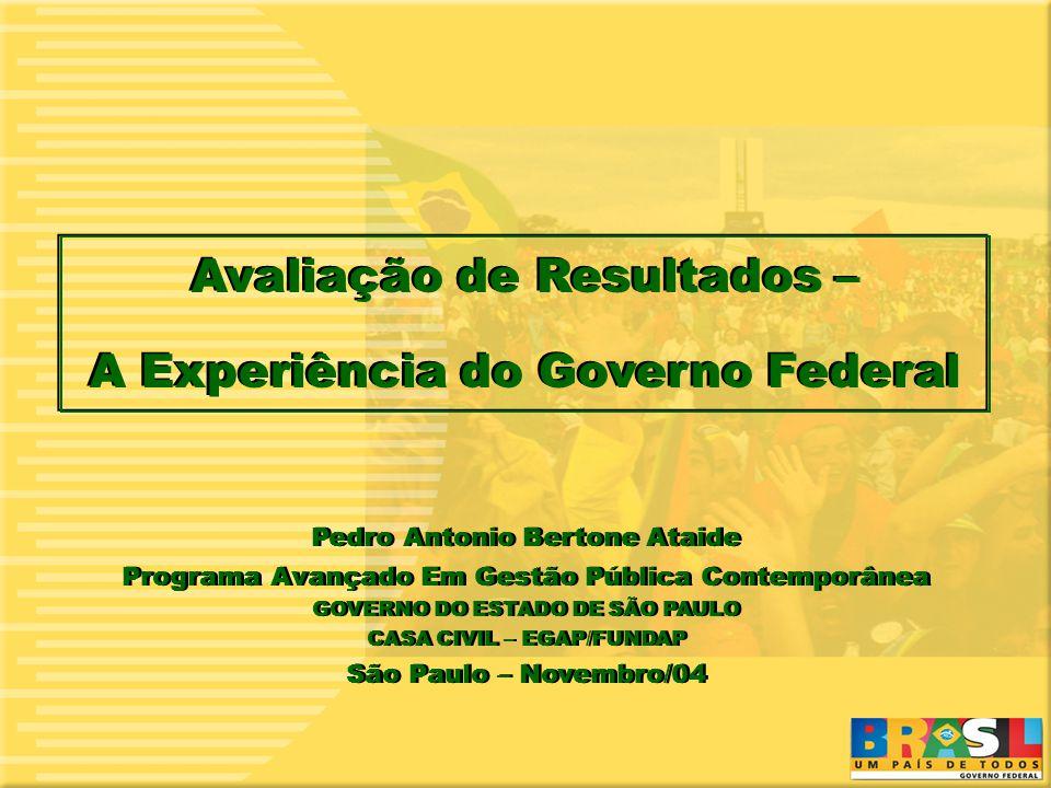 1 1 Avaliação de Resultados – A Experiência do Governo Federal Avaliação de Resultados – A Experiência do Governo Federal Pedro Antonio Bertone Ataide