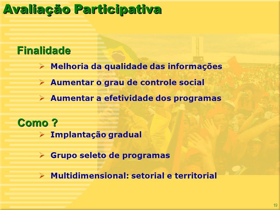 19 Melhoria da qualidade das informações Aumentar o grau de controle social Aumentar a efetividade dos programas Avaliação Participativa Finalidade Im