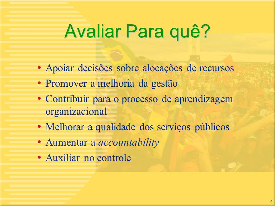 4 4 Avaliar Para quê? Apoiar decisões sobre alocações de recursos Promover a melhoria da gestão Contribuir para o processo de aprendizagem organizacio