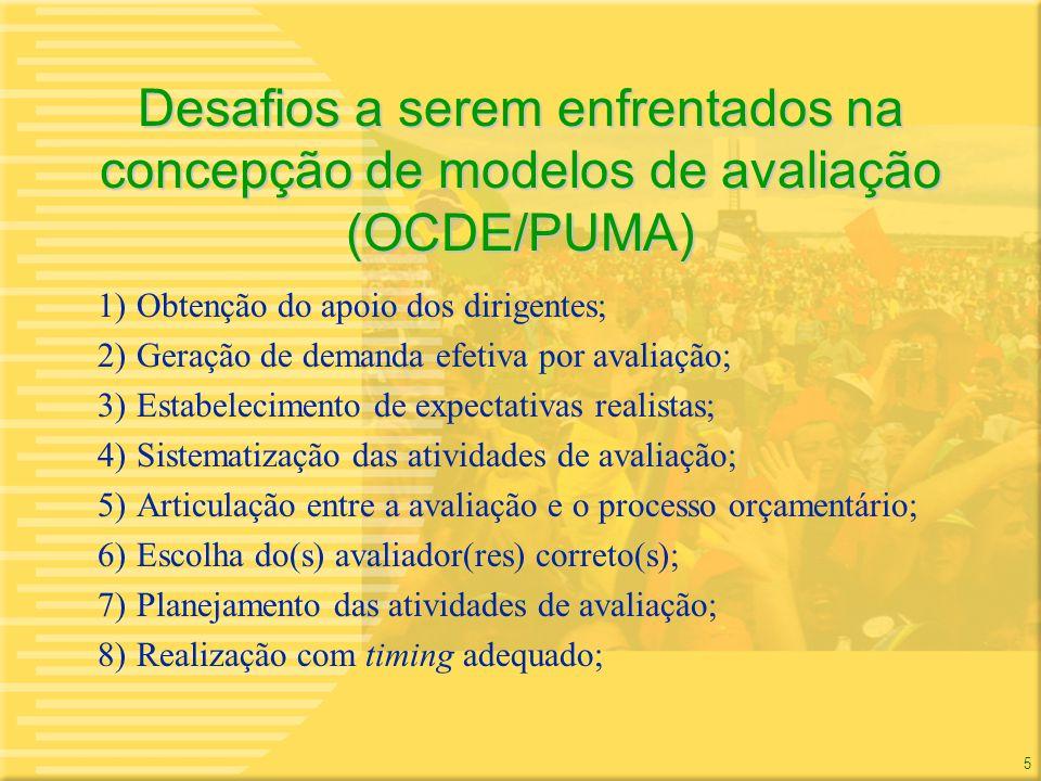 5 5 Desafios a serem enfrentados na concepção de modelos de avaliação (OCDE/PUMA) 1)Obtenção do apoio dos dirigentes; 2)Geração de demanda efetiva por
