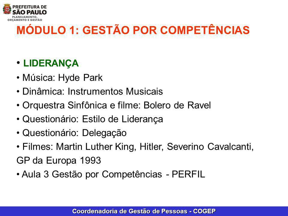 Coordenadoria de Gestão de Pessoas - COGEP MÓDULO 1: GESTÃO POR COMPETÊNCIAS LIDERANÇA Música: Hyde Park Dinâmica: Instrumentos Musicais Orquestra Sin