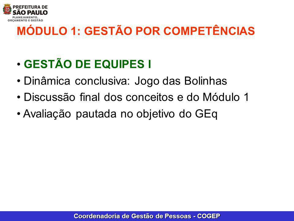 Coordenadoria de Gestão de Pessoas - COGEP MÓDULO 1: GESTÃO POR COMPETÊNCIAS GESTÃO DE EQUIPES I Dinâmica conclusiva: Jogo das Bolinhas Discussão fina